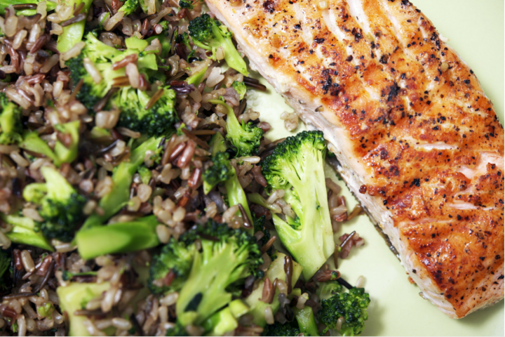 Salmon, broccoli and brown rice meal