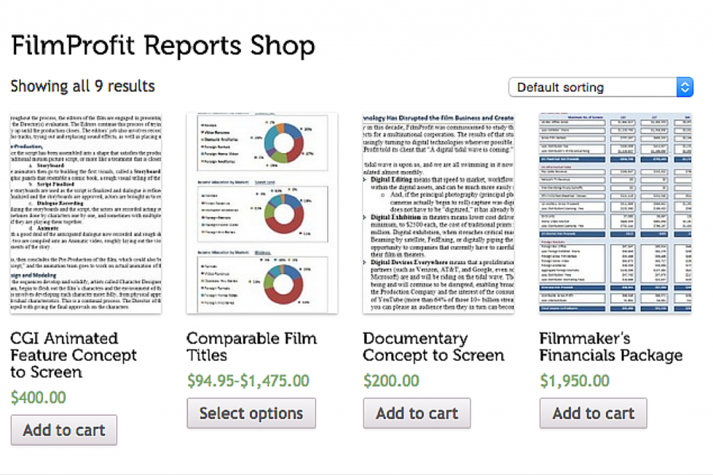 FilmProfit: screenshot of store