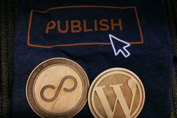 Post Status Publish swag - tshirt and coasters