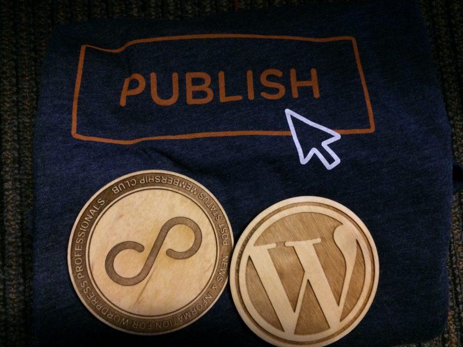 Post Status Publish swag - tshirt and coasters