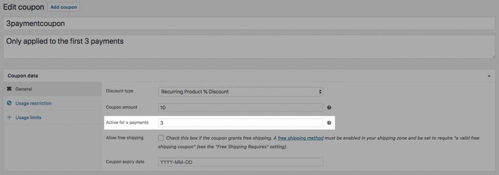 Screenshot of coupon page