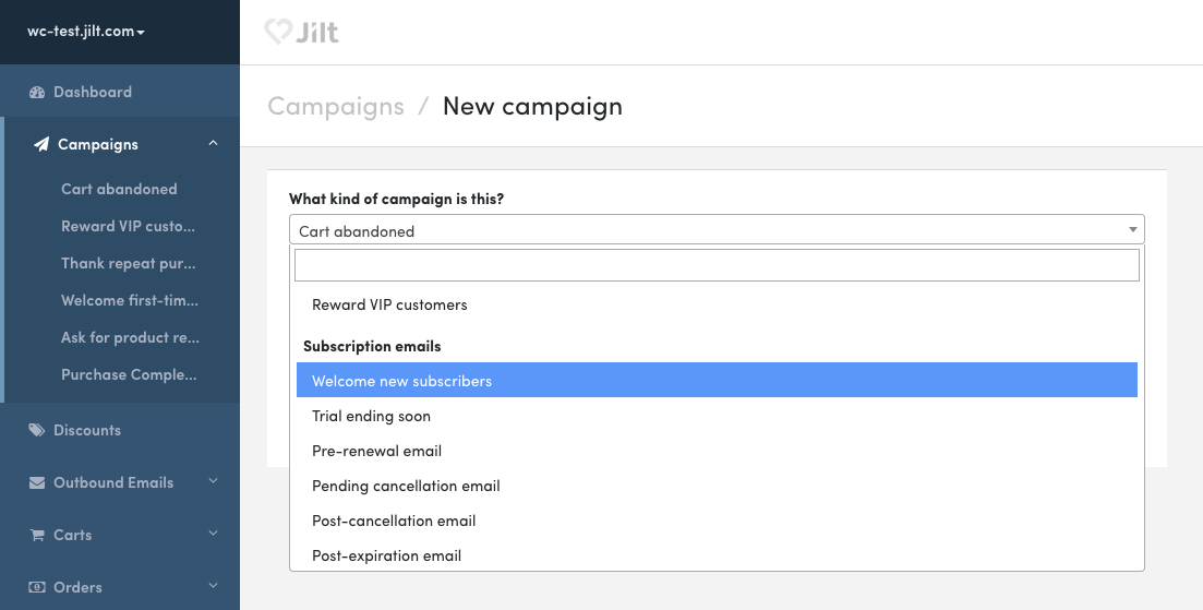 Screenshot of UI to add a subscription campaign in Jilt