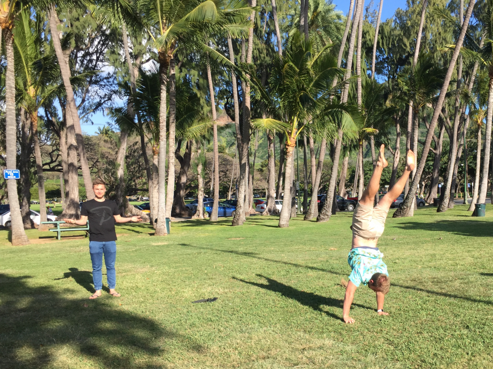 A man doing a handstand