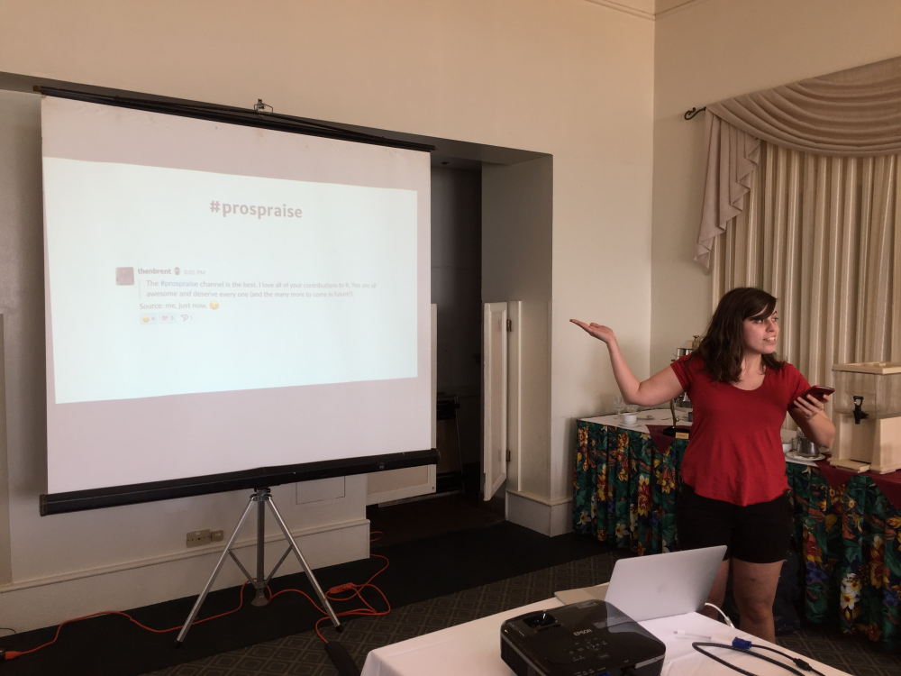 Woman giving presentation in front of projector